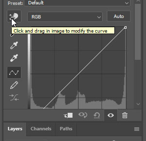 Photoshop curves hand tool