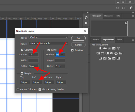collage guide layout setting