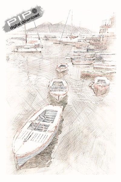 Digital Drawing - Port of Naples