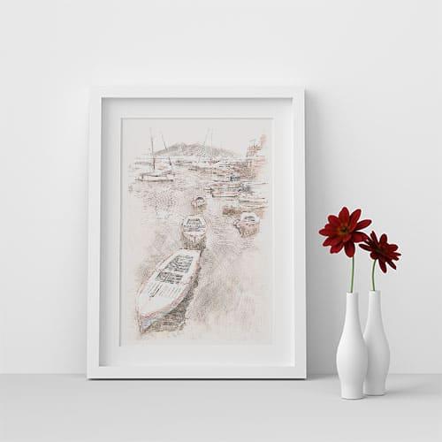 Digital Drawing - Port of Naples - White Frame