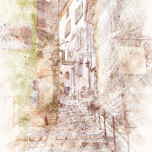 Printable Art – French Village sketch art