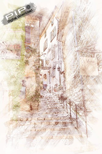 Printable Art - Digital Drawing - French Village