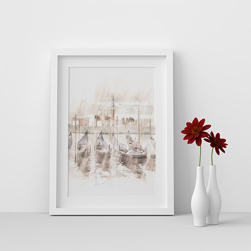 Printable Art - Gondola  white frame